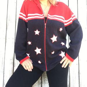 Karen Scott Sport Woman Patriotic Zip sweater SZ1X